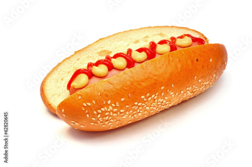 hot dog with tomato ketchup and mustard