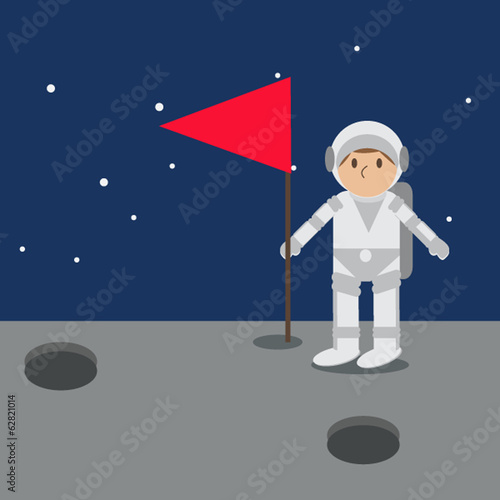 Astronaut on mars with flag.