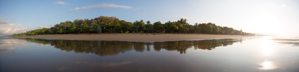 Panoramic view of a beach in Costa Rica