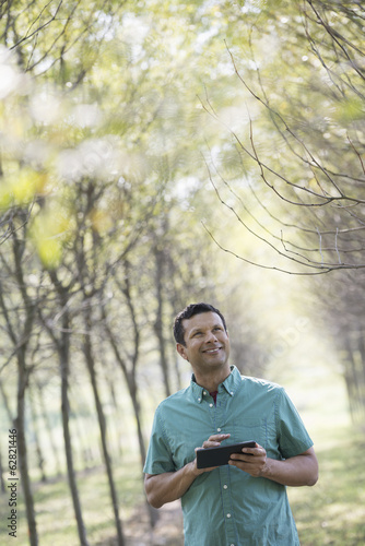 A man standing in an avenue of trees, holding a digital tablet.