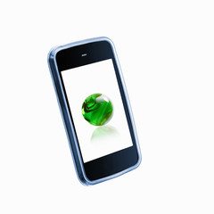 A small handheld communication device or phone with a green globe or sphere on the screen.