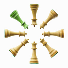 An arrangement of pawn chess pieces, with one green one among the brown.