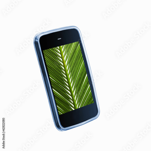 A small handheld communication device or phone with a green palm leaf image on the screen.