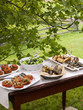 A buffet table set up in a garden for al  fresco meal. Salads and prepared food dishes.