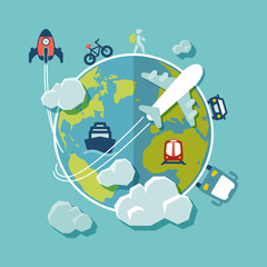 Travel around the world flat design
