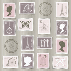 Vintage postage stamps set.