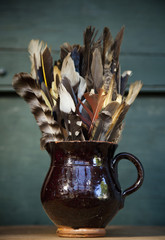 A collection of bird feathers in a brown pottery jug on a shelf.