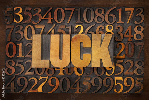 luck word in wood type