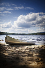A canoe boat beached on the shore of a lake or river.