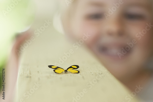 A child examining a butterfly, which has landed close by.