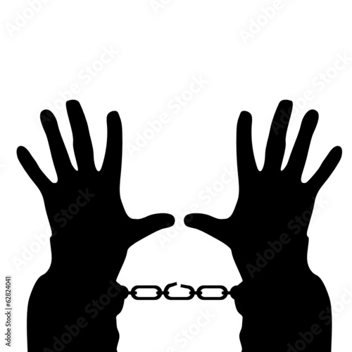 hands in handcuffs vector silhouette illustration