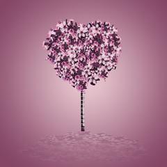 árbol de corazón de flores hermosas