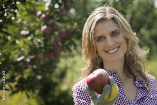 Organic Farmer, a young woman holding a freshly picked apple. Orchard of fruit trees.