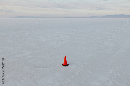 A single traffic cone on the salt flats, a marker for vehicles during Speed Week