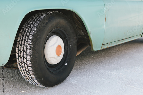 Detail of old pickup truck, on the Bonneville Salt Flats during Speed Week