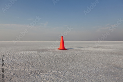 Traffic cone track marker on Bonneville Salt Flats, during Speed Week.