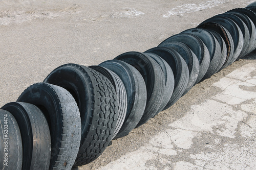 Row of discarded tires