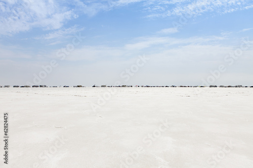 Spectators lined up on Bonneville Salt Flats during Speed Week