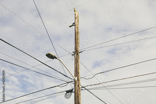 Telephone pole and wires near Seattle.
