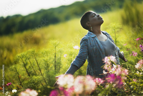 Woman Enjoying Organic Flower Farm