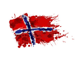 Norwegian flag made of colorful splashes