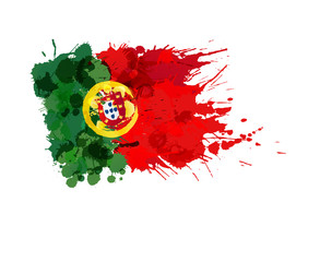 Flag of Portugal made of colorful splashes