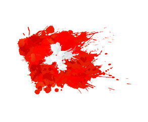 Swiss flag made of colorful splashes