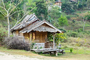 Thai style wooden hut of hill-tribe, Thailand