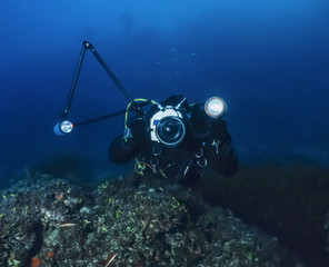Italy, Tyrrhenian sea, underwater photographer