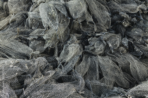 Nets used for shellfish aquaculture in oyster beds. Oysterville USA