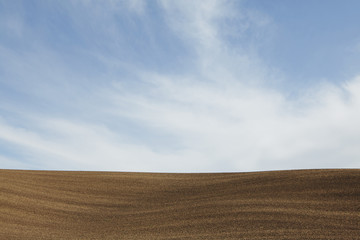 A ploughed field, and rolling landscape.