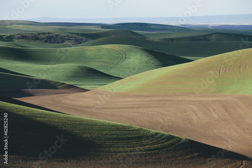 A view over green rolling hills and farmed fields.