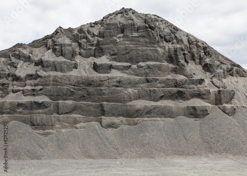 Large heap of gravel and stone used for road construction