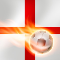 Burning football on England flag background