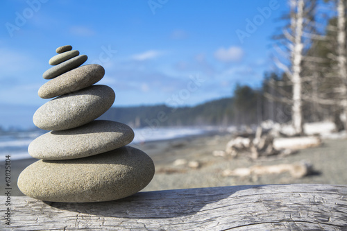 A pile of balancing smooth beach rocks near Rialto Beach, Olympic national park, in Washington, USA