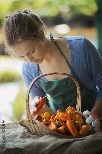Organic Vegetable on Display with Farmer; Organic Yellow and Red Bell Peppers
