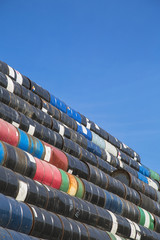 Oil barrels stacked up