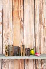 Spring in print letters