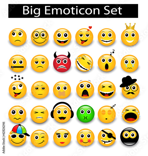 large Set a round yellow emoticons