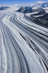 Aerial view over a glacier in the Wrangell mountains of the Wrangell-St. Elias National Park, Alaska, USA