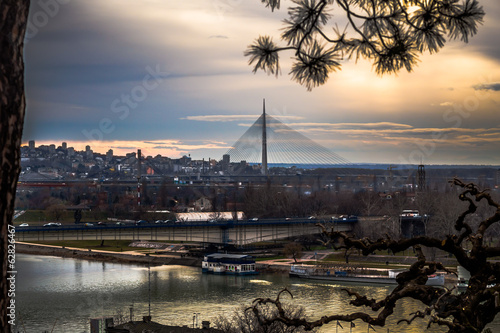 Panoramic view of Belgrade during sunset