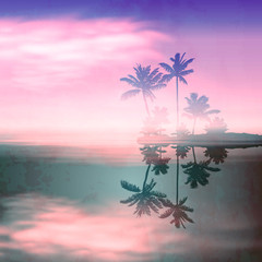 Sea sunset with island and palm trees. Retro style.