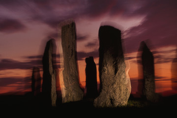 Megaliths in a stone circle, an impression, Callanish, Scotland