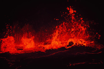 Lava lake in Pu'u 'O'o crater, Hawaii Volcanoes National Park, Hawaii
