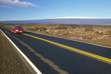 Park road and Mauna Loa, Hawaii Volcanoes National Park, Hawaii