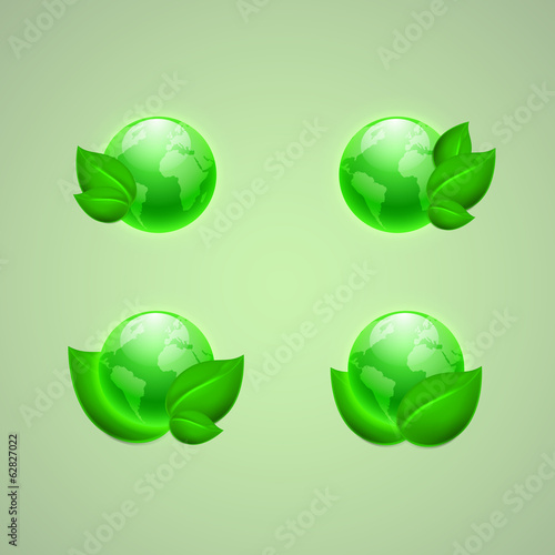 Set of icons for app or web design. Green leaves with the globes