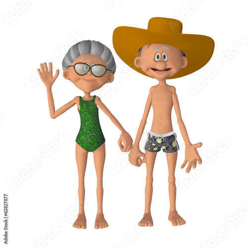 Happy 3d cartoon  senior couple  on the vacations