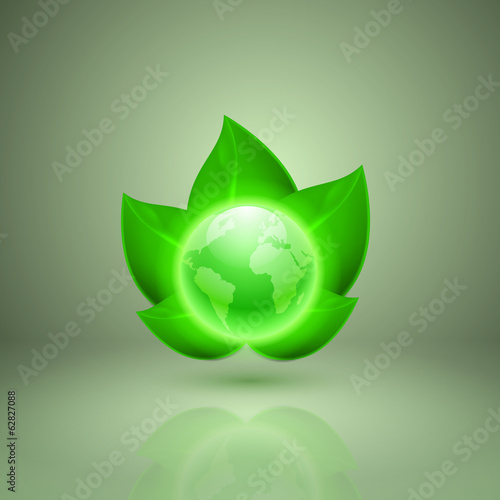 Green leaves with the globe. Icon for app or web design