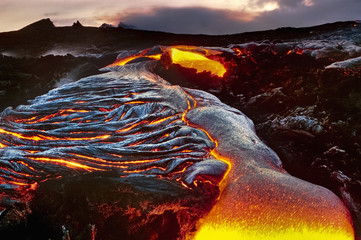 Flowing lava, Hawaii Volcanoes National Park, Hawaii