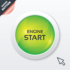 Start engine sign icon. Power button.